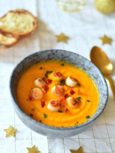 Velouté carotte orange ~ pétoncles poêlées