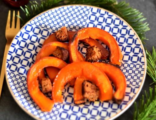 Potimarron rôti et pain d'épices grillé