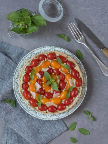 Tarte froide ricotta, basilic, tomates