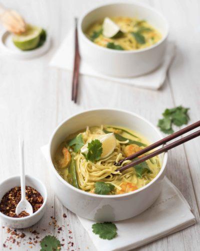 Wok de crevettes thaï