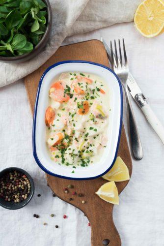 Cassolette de poissons et crevettes
