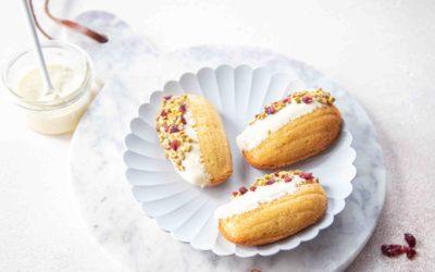 Madeleines chocolat blanc, pistaches et cranberries