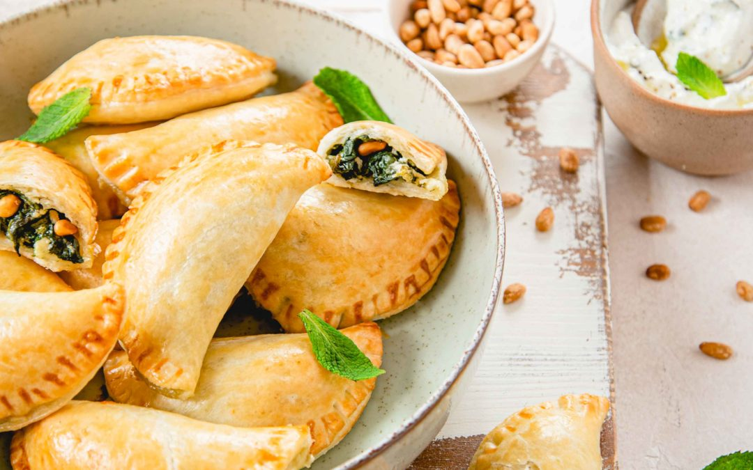 Empanadas épinards, pignons et Crottins de Chèvre